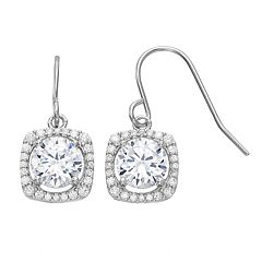 PRIMROSE Sterling Silver Cubic Zirconia Square Halo Drop Earrings