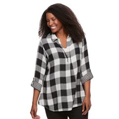 Plus Size SONOMA Goods for Life™ Plaid Popover Top