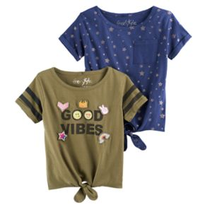 """Girls 4-6x Freestyle Revolution """"Good Vibes"""" & Foil Front-Tie Tee Set"""