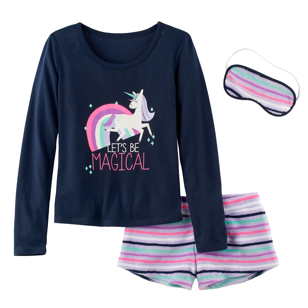 Girls 5-14 SO® Icon Tee, Fuzzy Shorts & Eye Mask Pajama Set