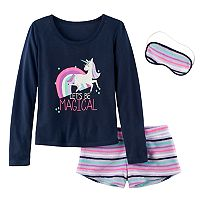 Girls 5-14 SO® Icon Tee, Fuzzy Shorts & Eye Mask Pajama Set