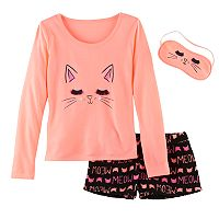Girls 5-14 SO® Cat Tee, Fuzzy Shorts & Eye Mask Pajama Set