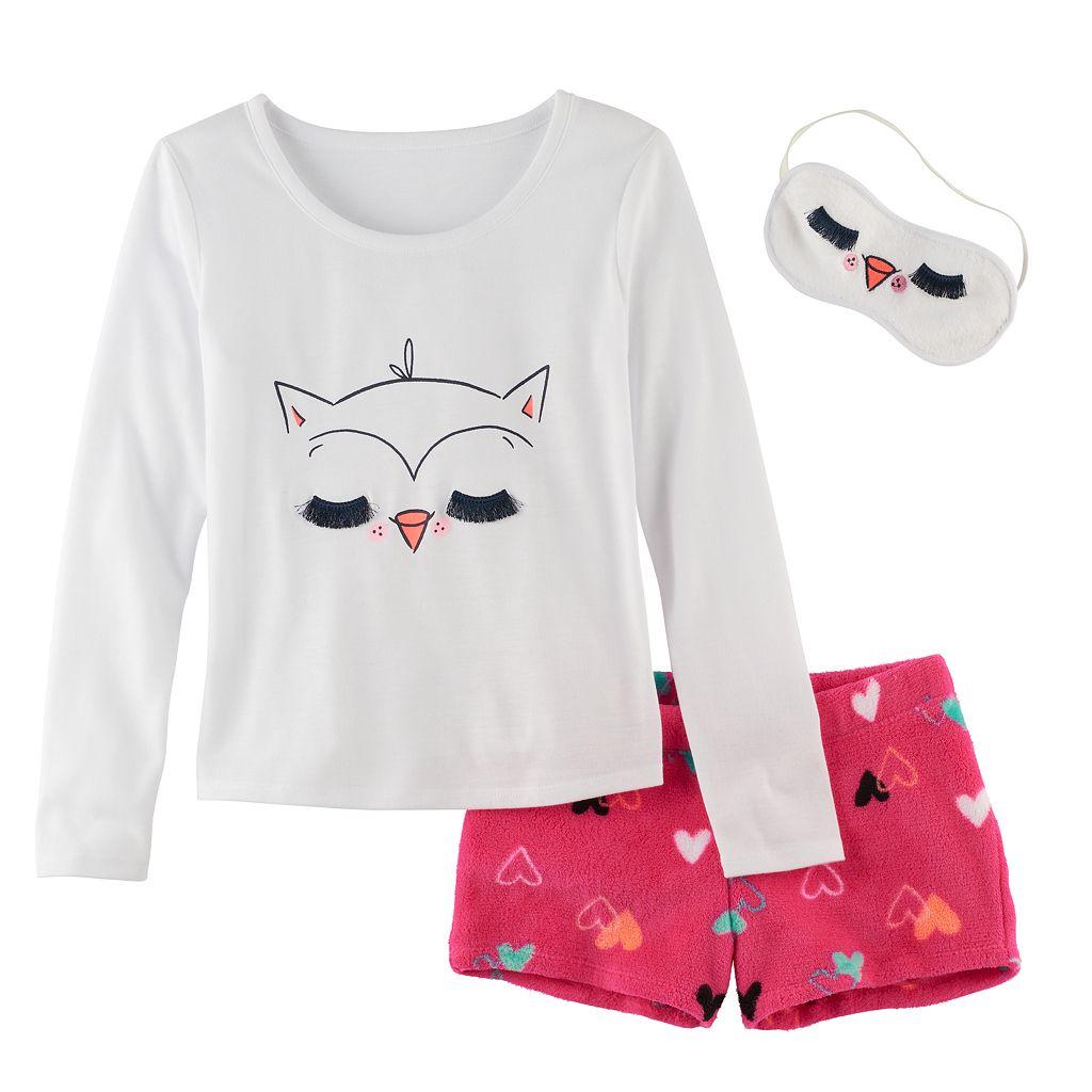 Girls 5-14 SO® Cat Tee, Fuzzy Shorts & Eye Mask Pajama Set