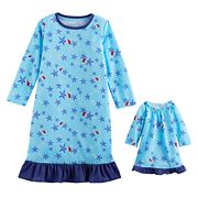 Toddler Girl Jammies For Your Families Starfish Nightgown & Doll Gown Pajama Set