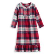 Toddler Girl Jammies For Your Families Plaid Flannel Nightgown & Doll Gown Pajama Set