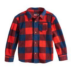 Baby Boy Jumping Beans® Microfleece Checked Button Down Shirt