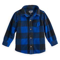 Toddler Boy Jumping Beans® Microfleece Checked Button Down Shirt