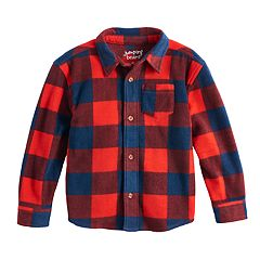 Toddler Boy Jumping Beans® Microfleece Checked Button Down Shirt