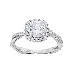 PRIMROSE Sterling Silver Cubic Zirconia Crisscross Halo Ring