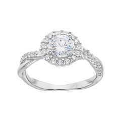 PRIMROSE Sterling Silver Cubic Zirconia Twist Halo Ring