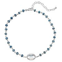 Blue Beaded Oval Choker Necklace