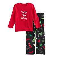 Toddler Boy Jammies For Your Families Holiday Dog Top & Fleece Bottoms Pajama Set