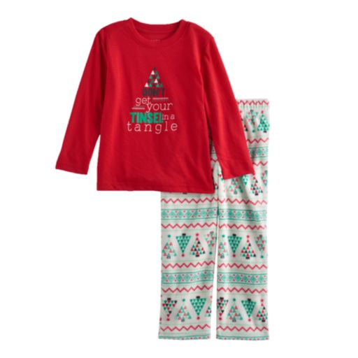 """Toddler Boy Jammies For Your Families """"Don't Get Your Tinsel in a Tangle"""" Top & Fleece Bottoms Pajama Set"""