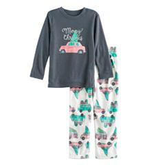 Toddler Boy Jammies For Your Families Retro Car Top & Fleece Bottoms Pajama Set