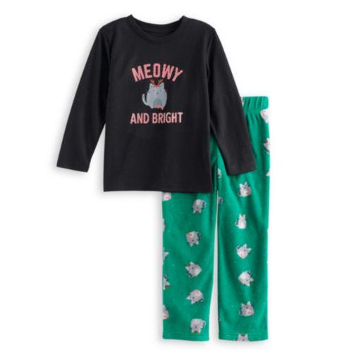 "Toddler Boy Jammies For Your Families ""Meowy Christmas"" Top & Fleece Bottoms Pajama Set"