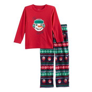 Toddler Boy Jammies For Your Families Snowman Fairisle Top & Microfleece Bottoms Pajama Set