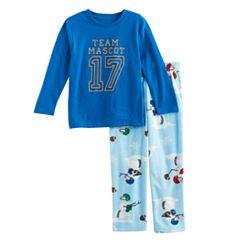 Toddler Boy Jammies For Your Families 'Team Mascot' Top & Football Snowmen Fleece Bottoms Pajama Set