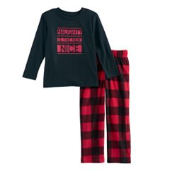 Toddler Boy Jammies For Your Families 'Naughty is the New Nice' Top & Fleece Buffalo Plaid Bottoms Pajama Set