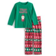 "Toddler Boy Jammies For Your Families ""Team Santa"" Top & Microfleece Bottoms Pajama Set"