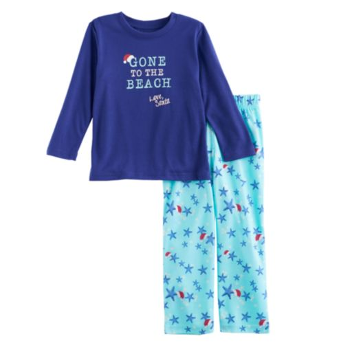 """Toddler Boy Jammies For Your Families """"Gone to the Beach Love, Santa"""" Top & Starfish Pattern Bottoms Pajama Set"""