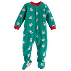 Baby Jammies For Your Families Holiday Cat Microfleece Footed Pajamas
