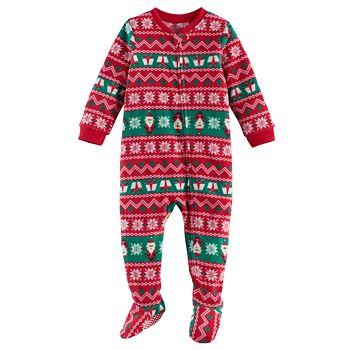 Baby Jammies For Your Families Santa Fairisle Microfleece Footed Pajamas