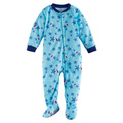Baby Jammies For Your Families Santa Hat Starfish Flannel Footed Pajamas