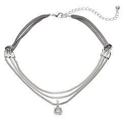 Simulated Crystal Pendant Multi Strand Choker Necklace