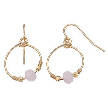 LC Lauren Conrad Pink Beaded Nickel Free Drop Hoop Earrings