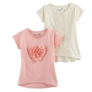 Girls 4-6x Freestyle Revolution Chiffon Heart & Lace High-Low Tee Set