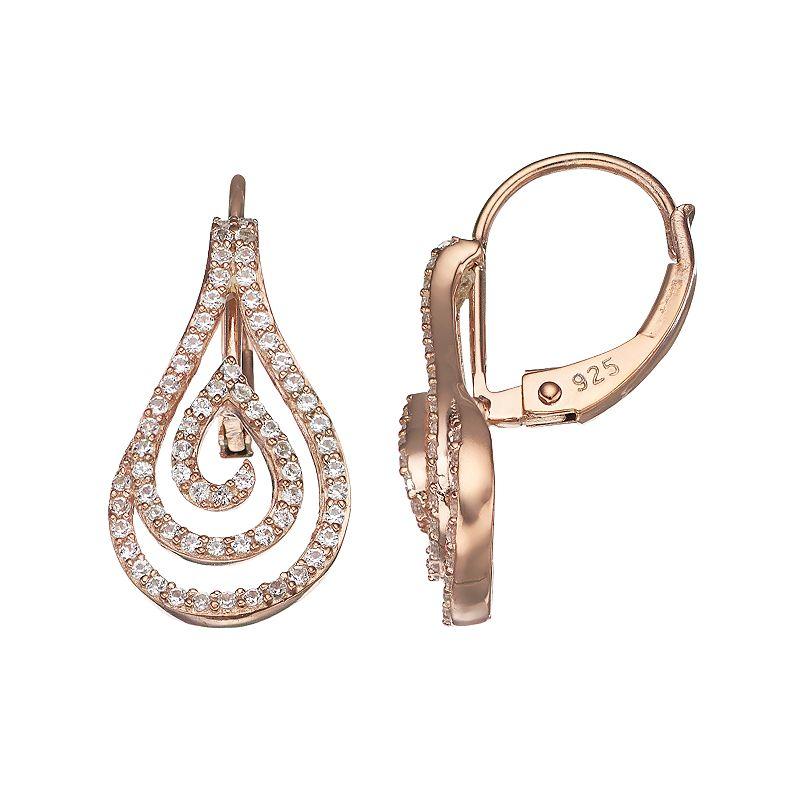 14k Rose Gold Over Silver 1/3 ct. T.W. Diamond Teardrop Swirl Earrings, Women's, White