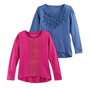 Girls 4-6x Freestyle Revolution Rosette & Lace High-Low Tee Set