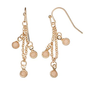 LC Lauren Conrad Faceted Pink Stone Chain Nickel Free Linear Earrings