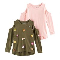 Girls 4-6x Freestyle Revolution Patch & Solid Cold-Shoulder Top Set