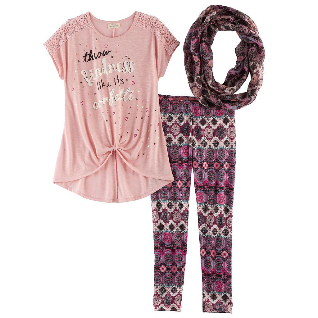 Girls 7-16 Self Esteem Knot Front Tee, Leggings & Infinity Scarf Set