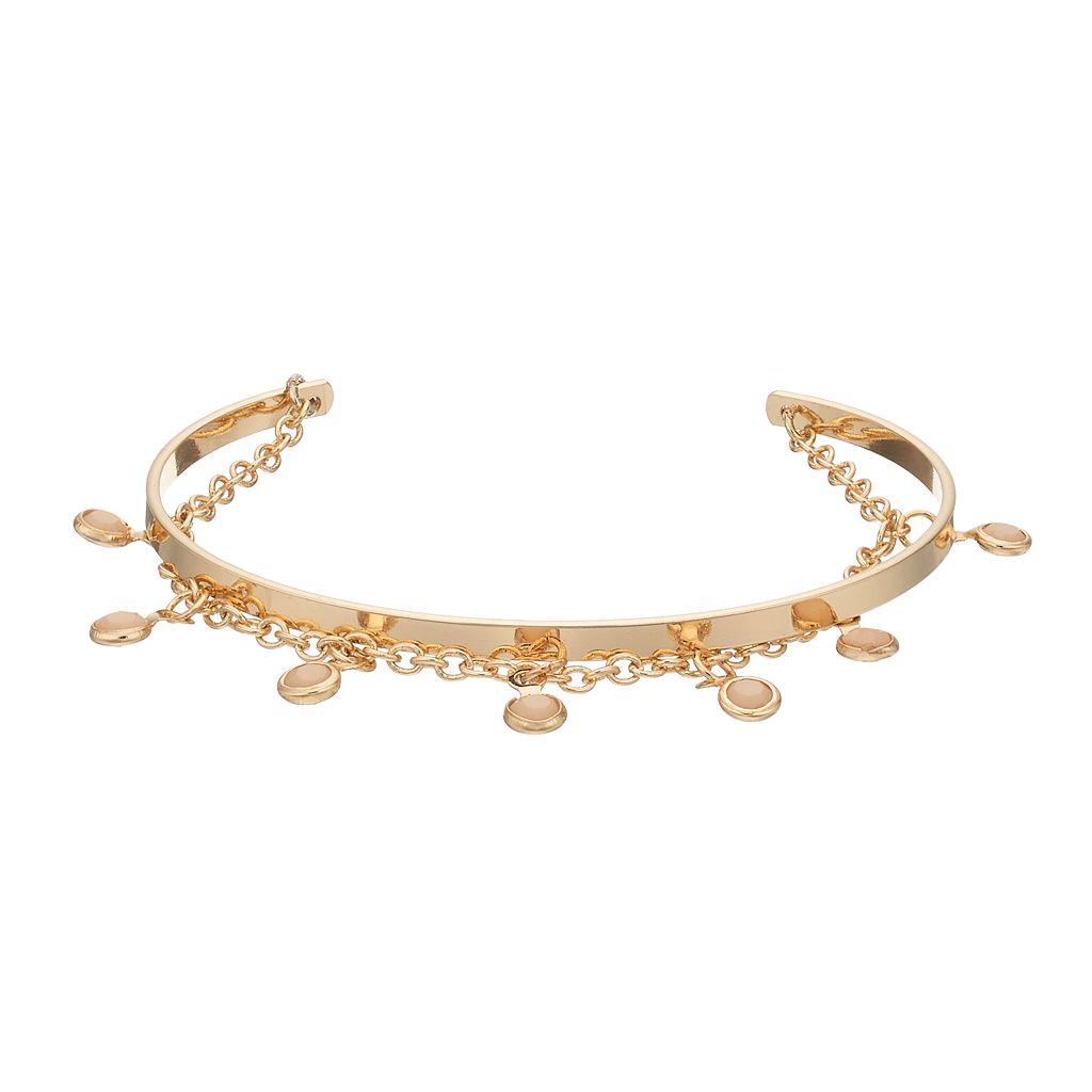 LC Lauren Conrad Shaky Stone Chain Cuff Bracelet
