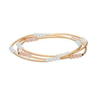 LC Lauren Conrad Pastel Beaded Curved Tube Stretch Bracelet Set