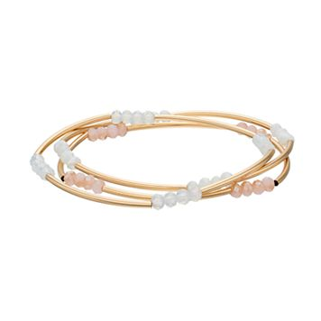 LC Lauren Conrad Pastel Beaded Curved Tube Stretch Bracelet Set