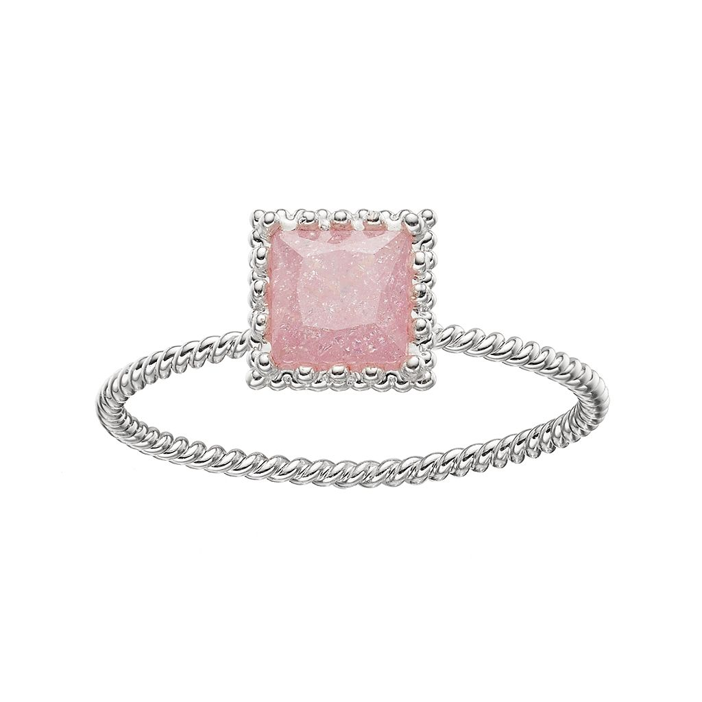 LC Lauren Conrad Pink Cubic Zirconia Square Twisted Ring