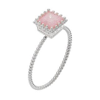 LC Lauren Conrad Pink Cubic Zirconia Square Twisted Ring