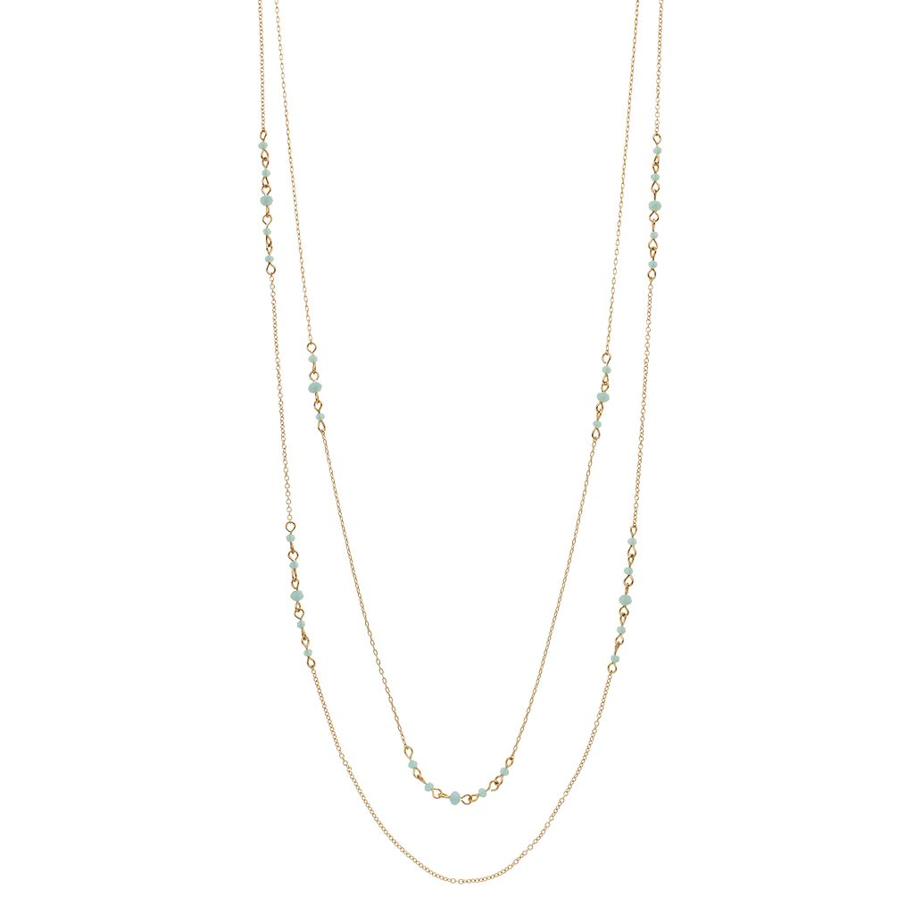 LC Lauren Conrad Teal Beaded Double Strand Station Necklace