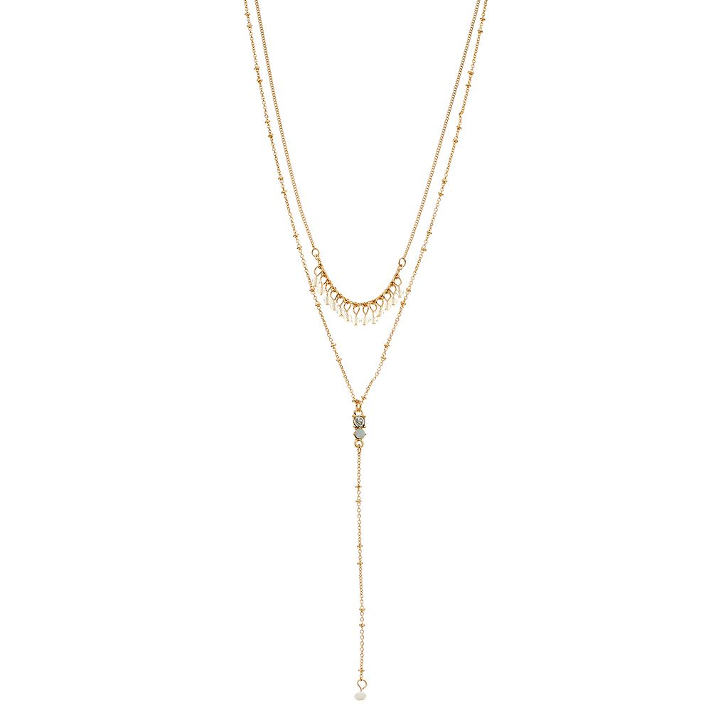 LC Lauren Conrad Beaded Fringe Layered Y Necklace