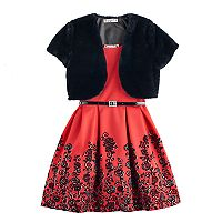 Girls 7-16 Knitworks Faux-Fur Bolero & Belted Flocked Skater Dress with Necklace