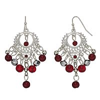 Red Bead Nickel Free Chandelier Earrings