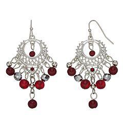 Red Bead Nickel Free Chandelier Earrings