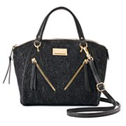 Juicy Couture Diagonal Zipper Black Lace Satchel