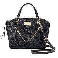 Juicy Couture Diagonal Zipper Black Lace Satchel