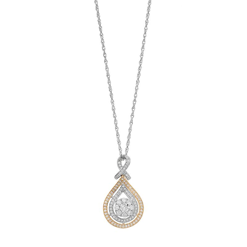 """Two Tone 10k Gold 1/2 Carat T.W. Diamond Teardrop Pendant. Women's. Size: 18"""". White"""
