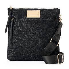 Juicy Couture Black Lace Flat Crossbody Bag