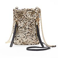 Juicy Couture Double Zipper Sequined Phone Crossbody Bag